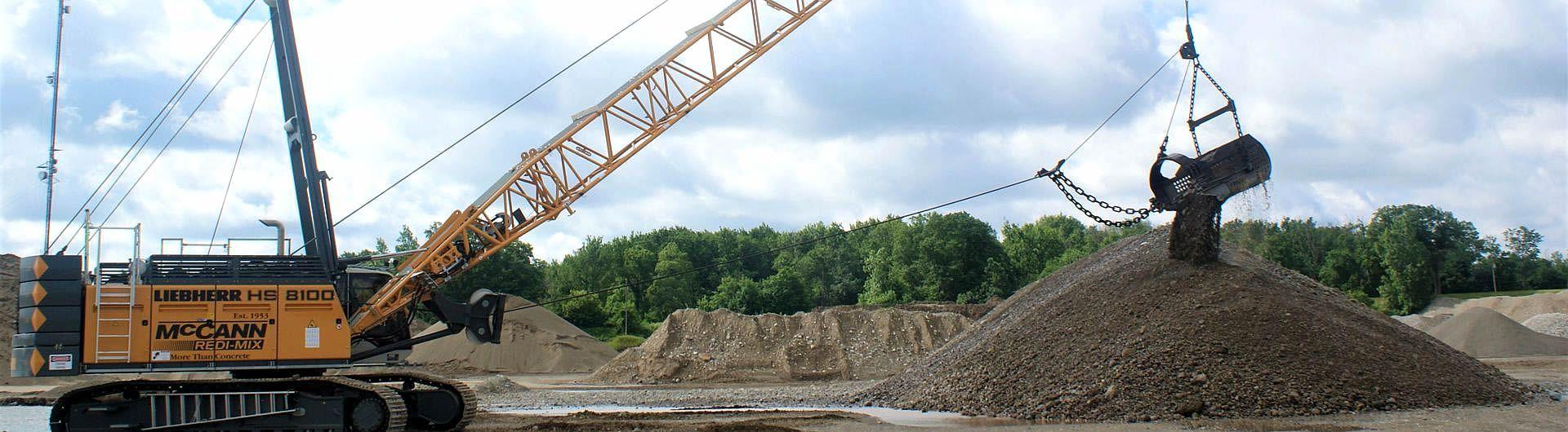 new dragline in gravel pit